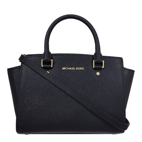 Michael Kors Black Leather Medium Selma Satchel Bag