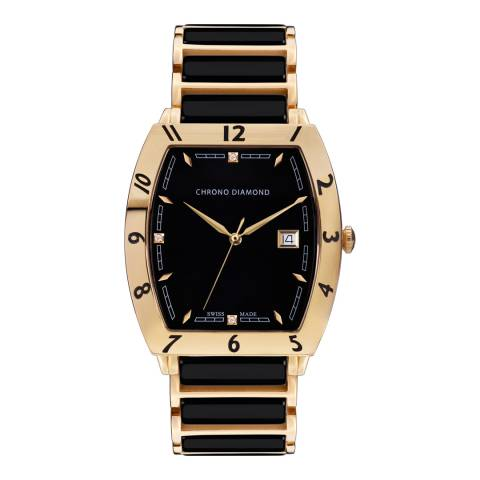 Chrono Diamond Men's Gold/Black Stainless Steel Leandro Watch