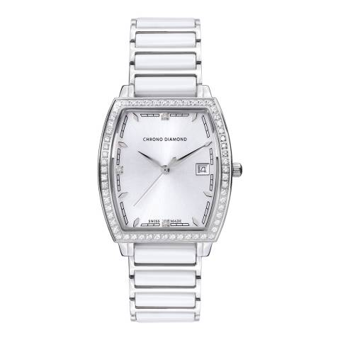 Chrono Diamond Women's White Ceramic Leandra Watch