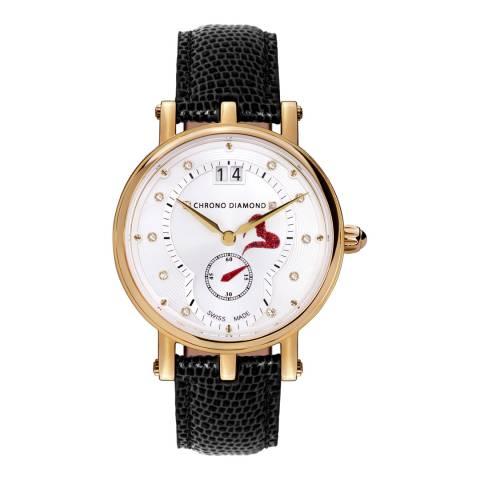 Chrono Diamond Women's Silver/Black Leather Ariadne Watch