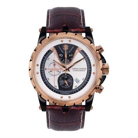 Chrono Diamond Men's Deep Brown/Gold Leather Furia Watch
