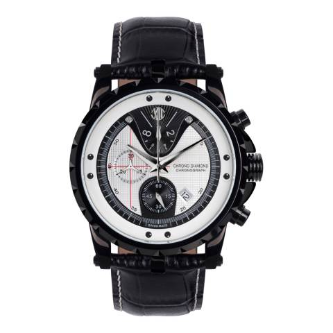 Chrono Diamond Men's Black/White Leather Furia Watch