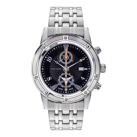 Chrono Diamond Men's Silver/Black Stainless Steel Achilles Watch