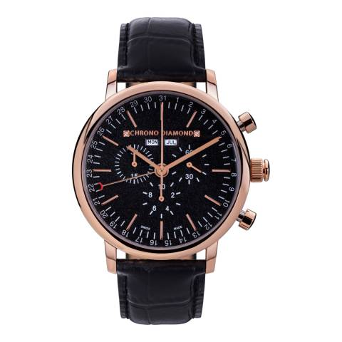 Chrono Diamond Men's Black/Rose Gold Herrenuhr Argos Watch