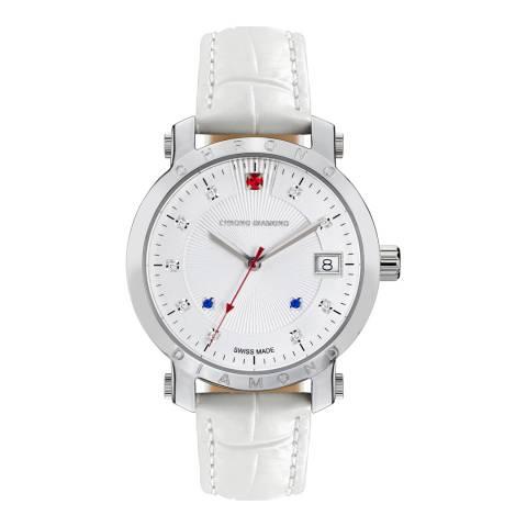 Chrono Diamond Women's Silver/White Leather Nesta Watch
