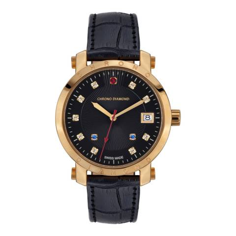 Chrono Diamond Women's Black/Gold Leather Nesta Watch