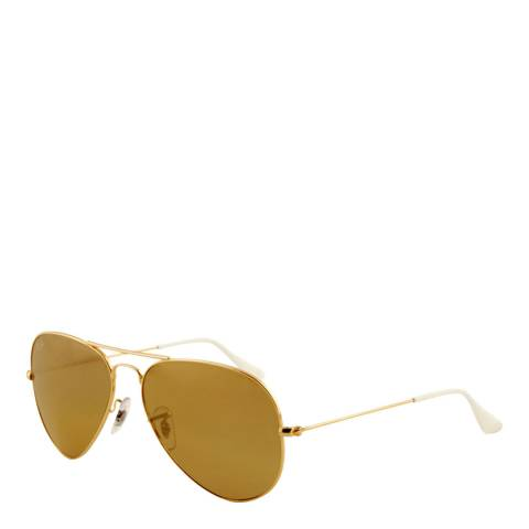 Ray-Ban Unisex Gold/Brown/White Aviator Sunglasses 58mm