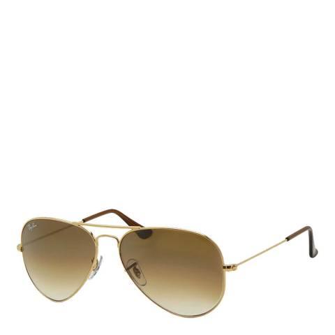 Ray-Ban Unisex Gold Aviator Sunglasses 58mm