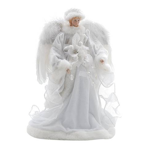Festive White Velvet Feather Wings Angel 35cm
