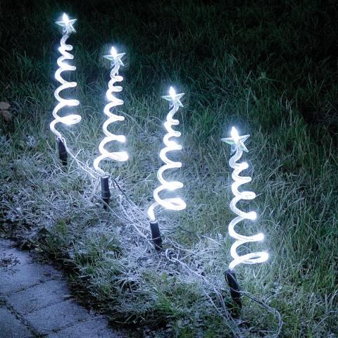 Festive Set of Four White LED Spiral Tree Garden Stakes