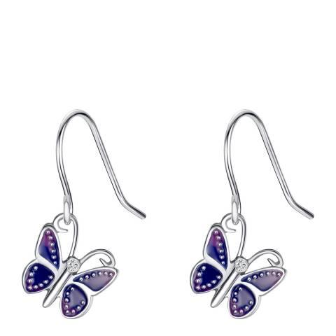 Tess Diamonds Silver/Purple Diamond Butterfly Drop Earrings
