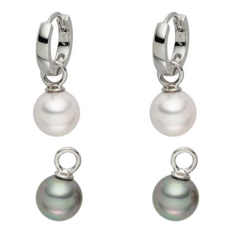 Nova Pearls Copenhagen Off White/Grey Freshwater Pearl Interchangeable Hoop Earrings