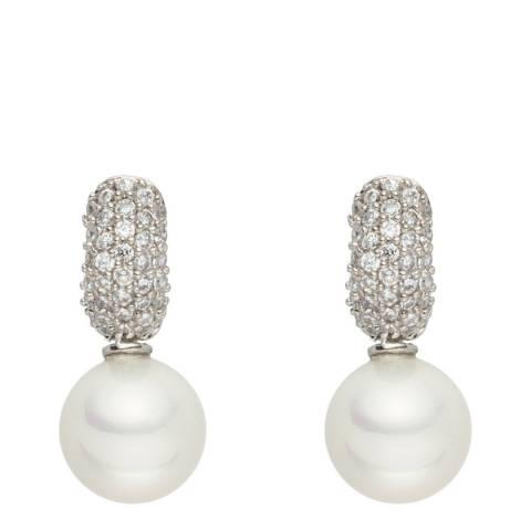 Nova Pearls Copenhagen White Pearl Zirconia Drop Earrings 10mm