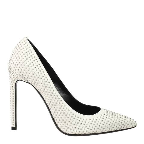 Yves Saint Laurent White Leather Studded Pointed Toe Shoes Heel 10cm
