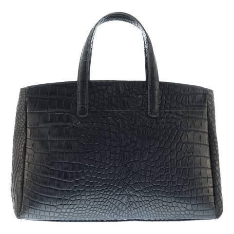 Lisa Minardi Blue / Grey Leather Croc Print Handbag