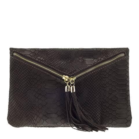 Giulia Massari Black Leather Envelope Tassel Clutch Bag