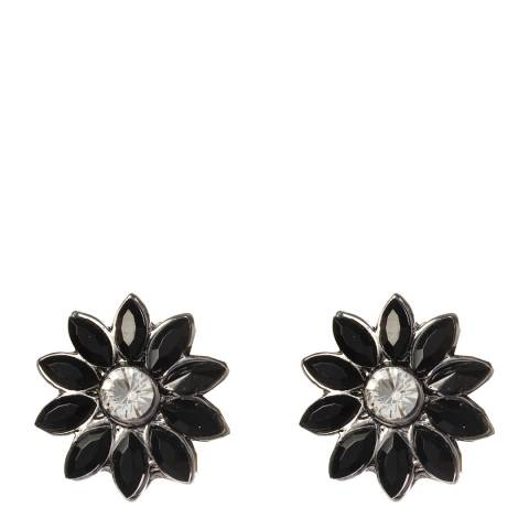 Amrita Singh Black Holi Floral Crystal Stud Earrings