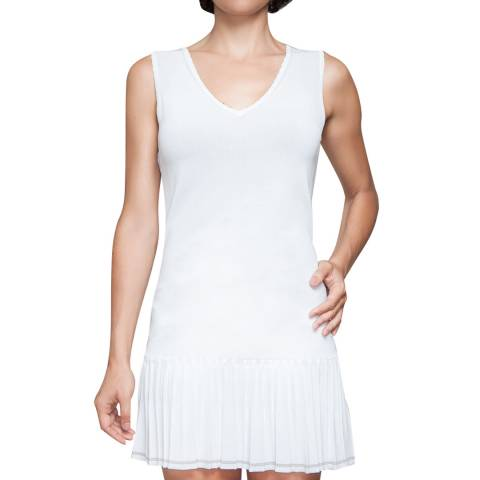 L'Etoile Sport White V Neck Flapper Dress