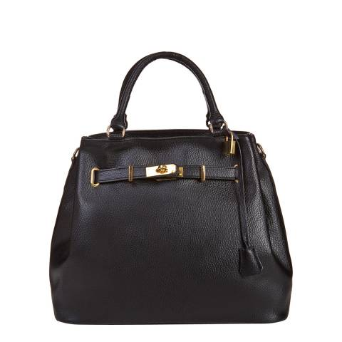 Massimo Castelli Black Leather Lock and Key Handbag