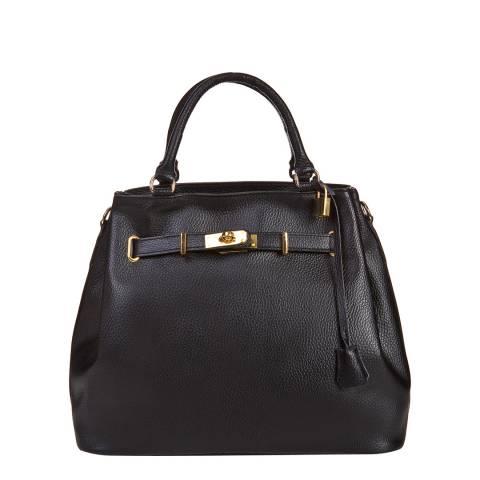 Massimo Castelli Black Leather Lock and Key Handbag