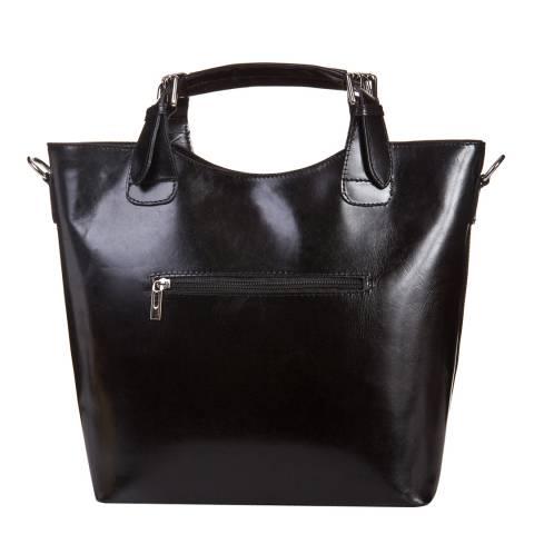 Massimo Castelli Black Leather Tote Bag