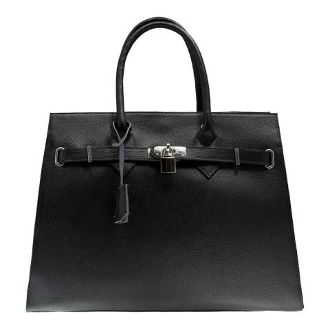 Giorgio Costa Black Leather Lock and Key Top Handle Bag