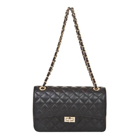 Markese Black Leather Chain Shoulder Bag