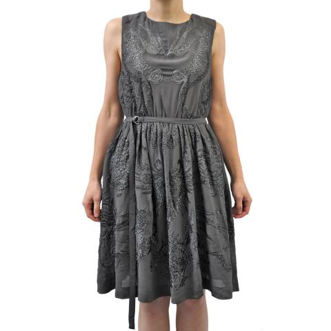 Bolongaro Trevor Women's Dark Grey Inked Embroidered Dress