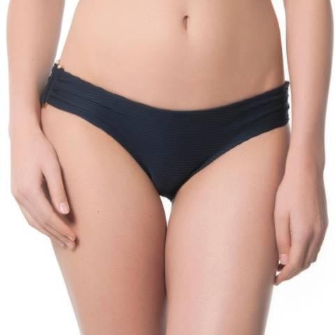 Heidi Klein Navy Pietra Santa U Bar Textured Bikini Briefs