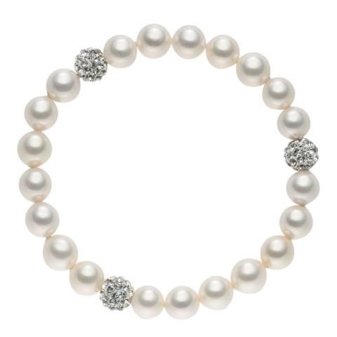 Pearls of London White Pearl Crystal Bracelet