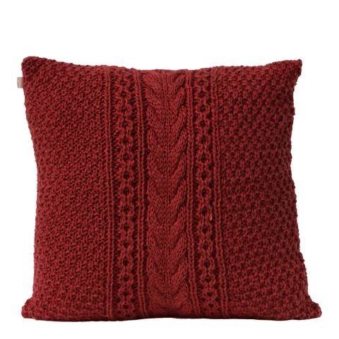 Gallery Dark Red Harper Cable Knit Cushion 50x50cm
