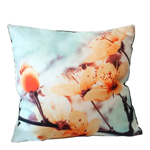 Gallery Light Orange/Light Blue Flora Square Cushion 45x45cm