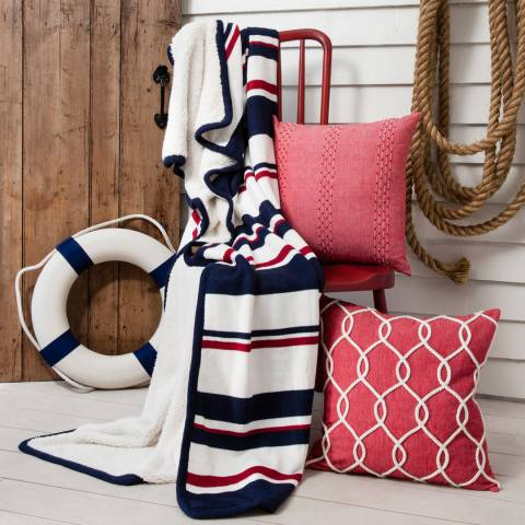 Gallery Navy/Deep Red Regatta Stripe Throw 140 x 180cm