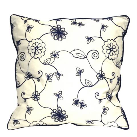 Gallery Blue/Cream Floral Crewelwork Cotton Cushion 45x45cm