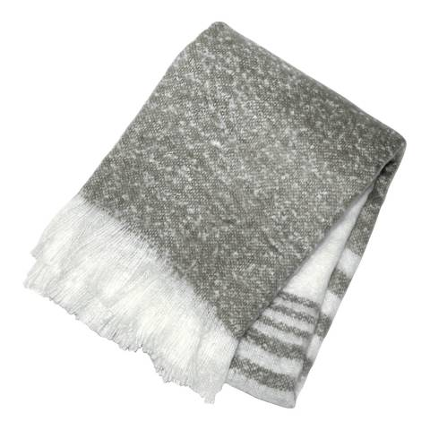 Gallery Grey Retreat Faux Mohair Stripe Throw 130x180cm