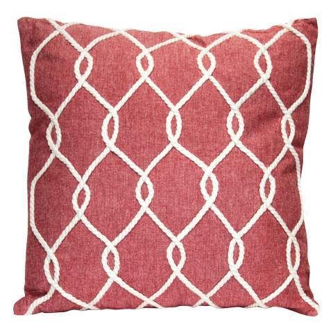 Gallery Soft Red Castaway Rope Cotton Cushion 45x45cm
