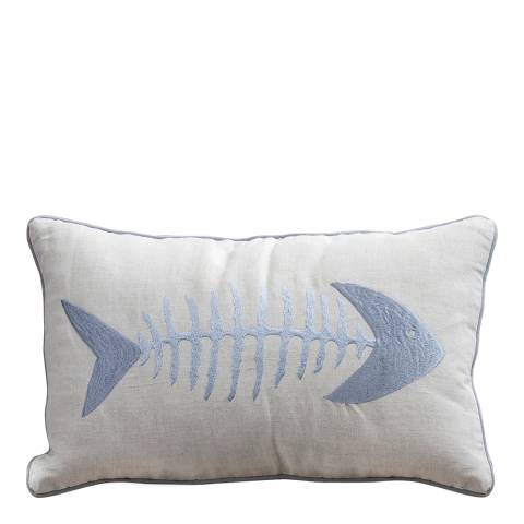 Gallery Grey/Cream Fish Cotton Blend Cushion 30x50cm
