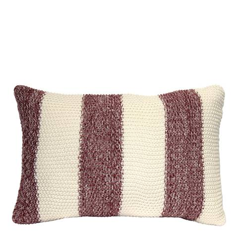 Gallery Red/Cream Coastal Stripe Cotton Cushion 40x60cm