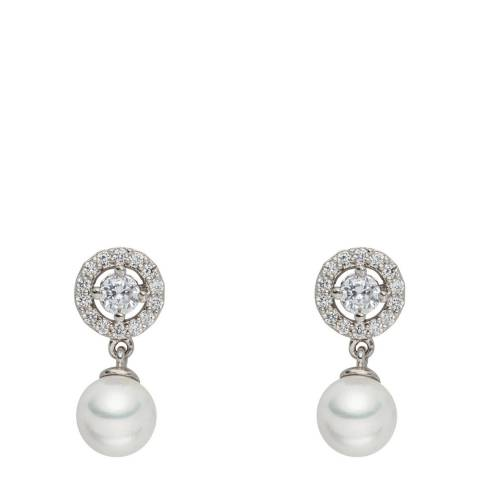 Nova Pearls Copenhagen White/Silver Organic Pearl/Cubic Zirconia Stud Earrings