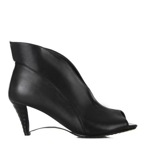 4e5cd6f8d961 Black Leather Fluted Shoe Boots Heel 11cm - BrandAlley