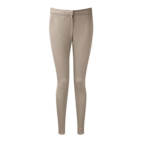 Pure Collection Grey/Taupe Slim Leg Cotton Trousers