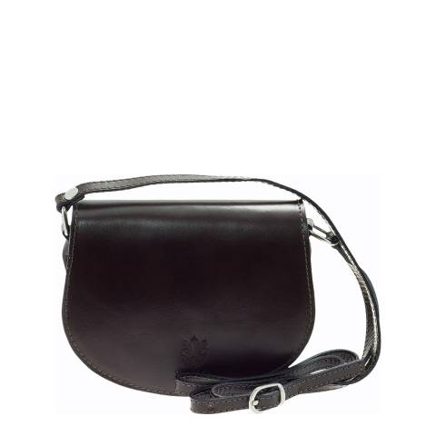 Giulia Massari Black Polished Leather Crossbody Bag