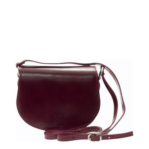 Giulia Massari Wine Polished Leather Crossbody Bag