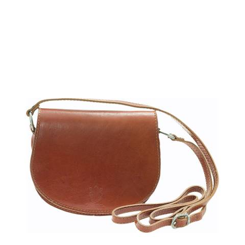 Giulia Massari Cognac Polished Leather Crossbody Bag