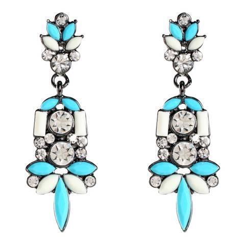 Amrita Singh Turquoise/Ivory Austrian Crystal/Resin Holi Earrings