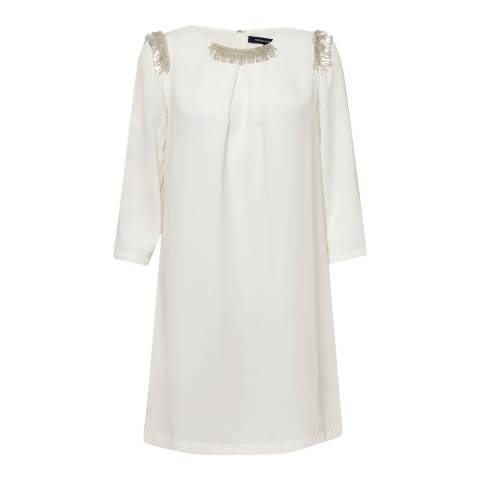 French Connection White Fringe Tunic Dress