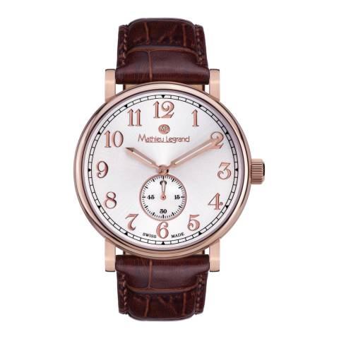 Mathieu Legrand Men's Brown/Rose Gold Leather Classique Watch