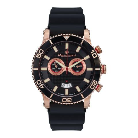 Mathieu Legrand Men's Black/Rose Gold Stainless Steel/Silicone Immergee Watch