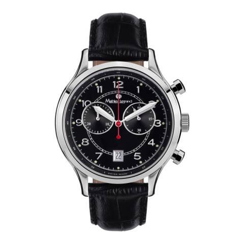 Mathieu Legrand Men's Black/Silver Leather Orbite Polaire Watch