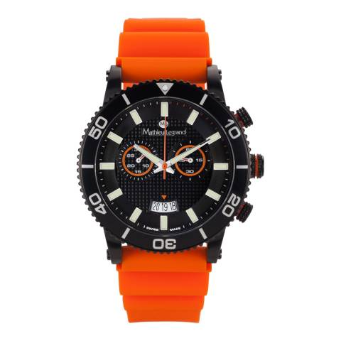 Mathieu Legrand Men's Orange/Black Stainless Steel/Silicone Immergee Watch